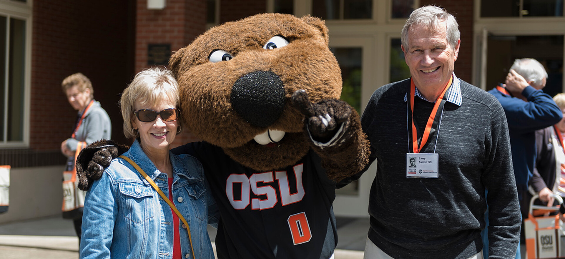 Alumni at a Class Reunion with Benny the Beaver
