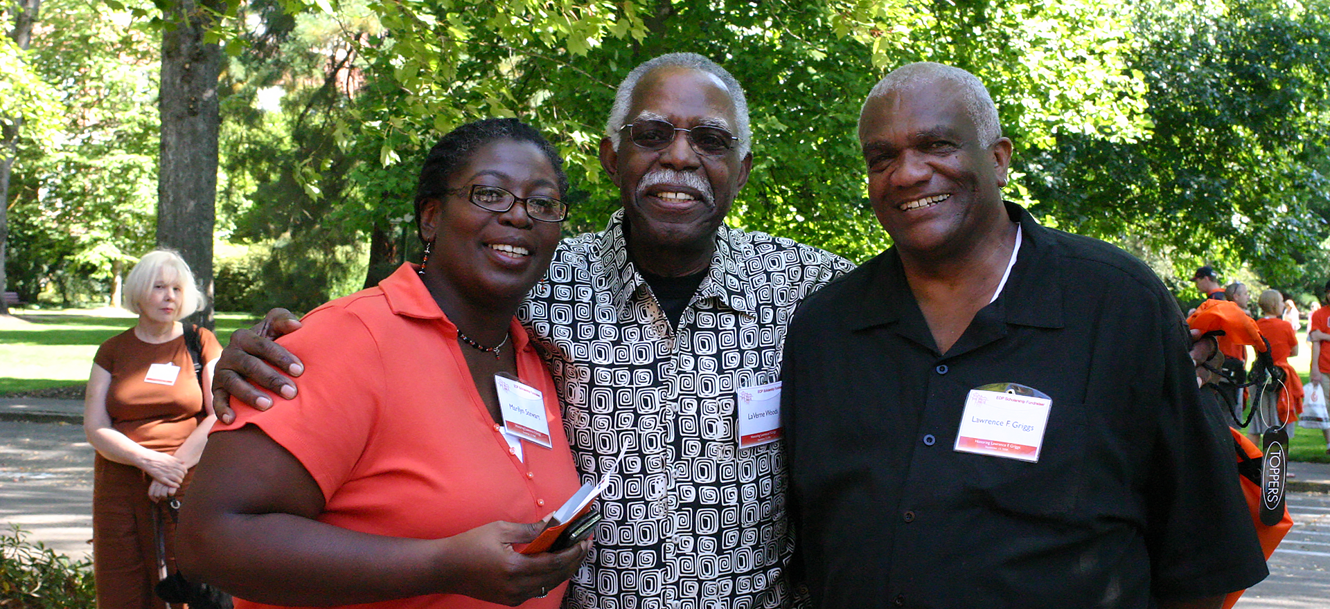 The late Larry Griggs (right), community leader and longtime director of OSU's Educational Opportunities Program. Pictured here with LaVerne Woods and Marilyn Stewart.