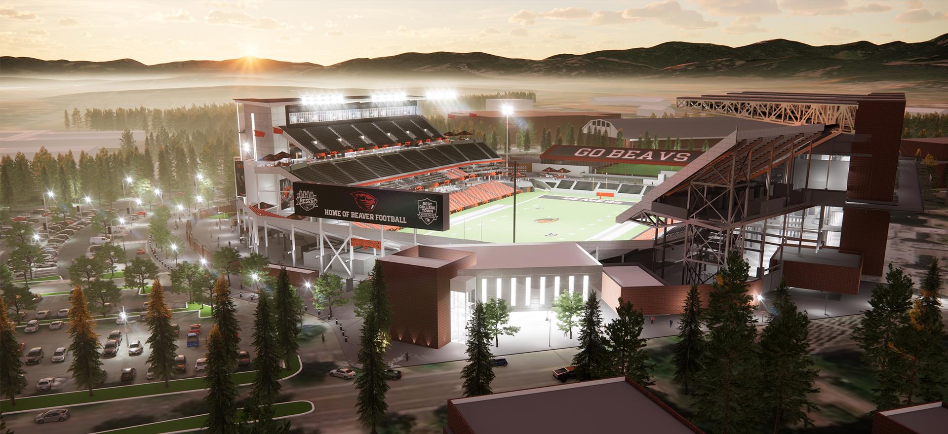 Computer rendering of Reser Stadium.